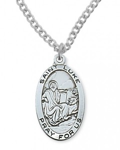 Men's St. Luke Medal Sterling Silver [MVM1074]