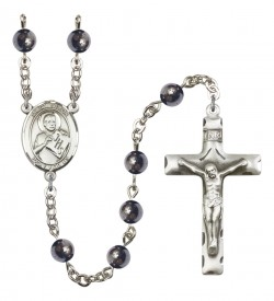 Men's St. Viator of Bergamo Silver Plated Rosary [RBENM8408]