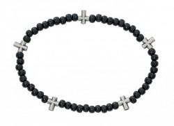 "Men's Stretch Rosary Bracelet with Alternating Cross and 5mm Black Wood Beads 8"" [MCBR0045]"