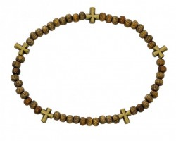 "Men's Stretch Rosary Bracelet with Alternating Cross and 5mm Light Brow Wood Beads 8"" [MCBR0044]"
