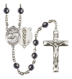 Men's Sts. Cosmas & Damian Doctors Silver Plated Rosary [RBENM8132S8]