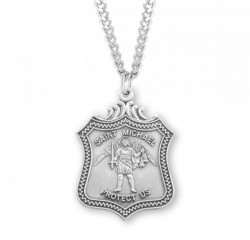 Men's Wide Shield Saint Michael Medal [HMM3010]