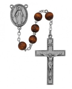 Miraculous Center Brown Bead Rosary [MVRB1159]