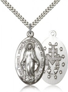Men's High Relief Miraculous Medal Necklace [BM0465]
