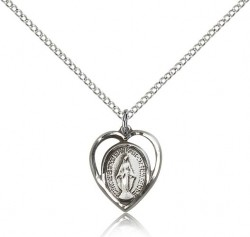 Heart Shape Open-Cut Miraculous Medal Necklace [BM0476]