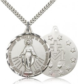 Men's Large Round Miraculous Medal Necklace [CM2142]