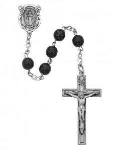 Miraculous Men's Rosary with Black 7mm Beads [MVRB1000]