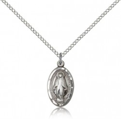 Women's Oval Etched Border Miraculous Pendant [BC0040]