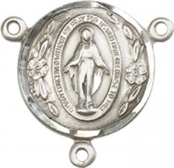 Round Miraculous Medal Rosary Centerpiece [BLCR0119]
