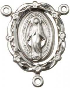 Flowers and Ribbons Miraculous Medal Rosary Centerpiece [BLCR0154]