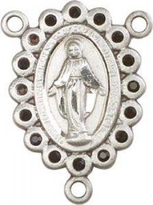 Miraculous Medal Rosary Centerpiece with Black Glass Stones [BLCR0135]