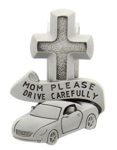 "Mom Please Drive Carefully Visor Clip, Pewter - 2 1/2""H [AU0105]"