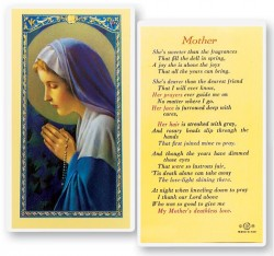 Mother Madonna Praying Rosary Laminated Prayer Cards 25 Pack [HPR842]