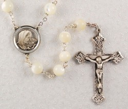 Mother of Pearl Madonna and Child Rosary [MVRB1093]