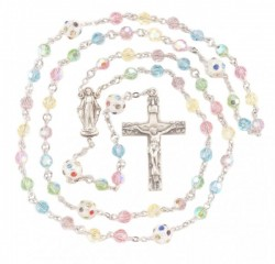 Multi Color Swarovski Crystal Rosary in Sterling Silver [HMBR045]