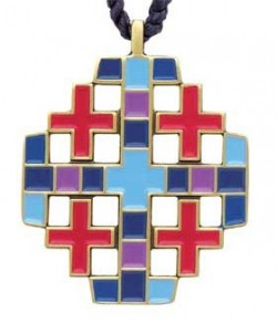 Multi-color Jerusalem Cross Pendant [TCG0360]