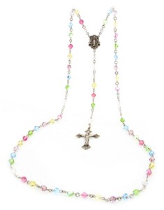 Multicolored Swarovski Rosary Miraculous Center [HMBR027]