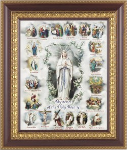 Mysteries of the Holy Rosary Illustrated Framed Print [HFP212]