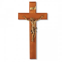 Leaning Christ Natural Cherry Wall Crucifix - 11 inch [CRX4213]