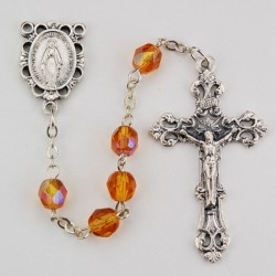 November Amber Aurora Glass Bead Rosary [MVRB1138]