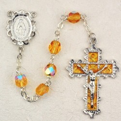 November Birthstone Rosary (Topaz) - Rhodium Plated [MVR023]