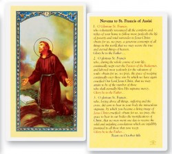 Novena To St. Francis Laminated Prayer Cards 25 Pack [HPR312]