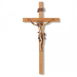Narrow Crossbar Oak Wall Crucifix - 11 inch [CRX4208]
