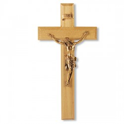 Leaning Corpus of Christ Oak Wall Crucifix - 11 inch [CRX4216]