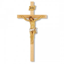 Oak Wall Crucifix with Hand-Painted Corpus - 13 inch [CRX4289]