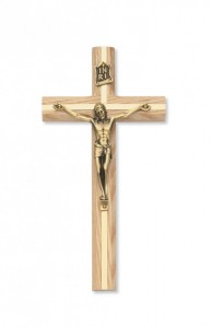 Oak Crucifix with Gold-Tone Inlay 8 inch beveled [CRX3859]