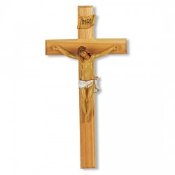 Wide Crossbar Oak Crucifix with Hand-Painted Corpus - 13 inch [CRX4291]