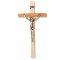 Slimline Oak Wood Wall Crucifix - 10 inch [CRX4148]