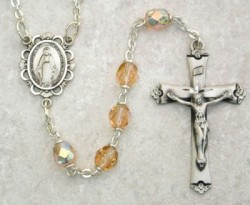 October Birthstone Rosary (Rose) - Sterling Silver [MVR010]