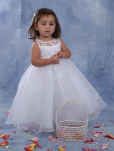 Organza and Peau Satin Christening Dress with Pearls and Embroidery [SCB1007]