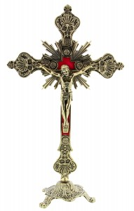 Ornate Gold-tone Crucifix with Base [SFA0023]