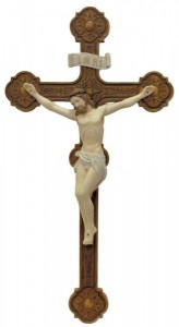 Ornate Wall Crucifix, Hand Painted - 14 Inch [GSS072]