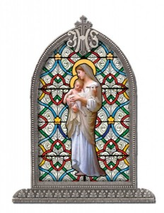 Our Lady of Divine Innocence Glass Art in Arched Frame [HFA8307]