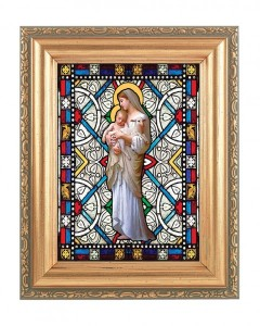 Our Lady of Divine Innocence Gold Frame Stained Glass Effect [HFA4608]