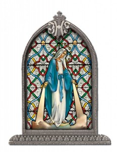 Our Lady of Grace Glass Art in Arched Frame [HFA8305]