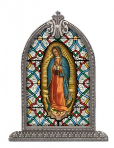 Our Lady of Guadalupe Glass Art in Arched Frame [HFA8306]
