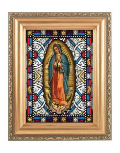 Our Lady of Guadalupe Gold Frame Stained Glass Effect [HFA4605]