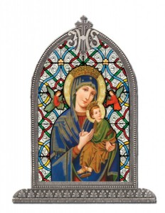 Our Lady of Perpetual Help Glass Art in Arched Frame [HFA8308]