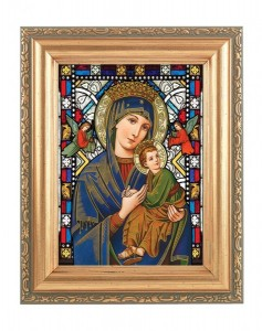 Our Lady of Perpetual Help Gold Frame Stained Glass Effect [HFA4607]