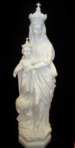 Our Lady of Crown Statue White Marble Composite - 32 inch [VIC2001]