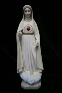 Our Lady of Fatima Statue Hand Painted Marble Composite - 16 inch [VIC0018]