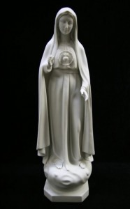 Our Lady of Fatima Statue White Marble Composite - 18.75 inch [VIC9013]