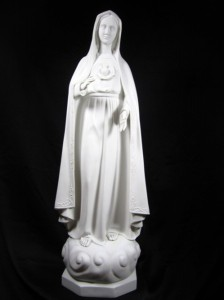 Our Lady of Fatima Statue White Marble Composite - 35 inch [VIC1003]