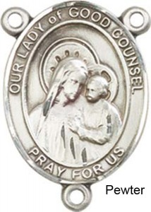 Our Lady of Good Counsel Rosary Centerpiece Sterling Silver or Pewter [BLCR0385]