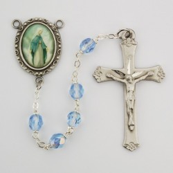 Our Lady of Grace Blue Glass Rosary [MVER0021]