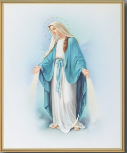 Our Lady of Grace Blue and White with Goldtone Frame [HFA0142]